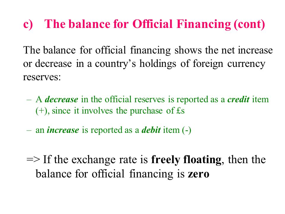 c) The balance for Official Financing (cont)