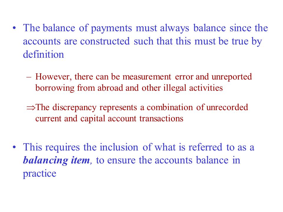 The balance of payments must always balance since the accounts are constructed such that this must be true by definition