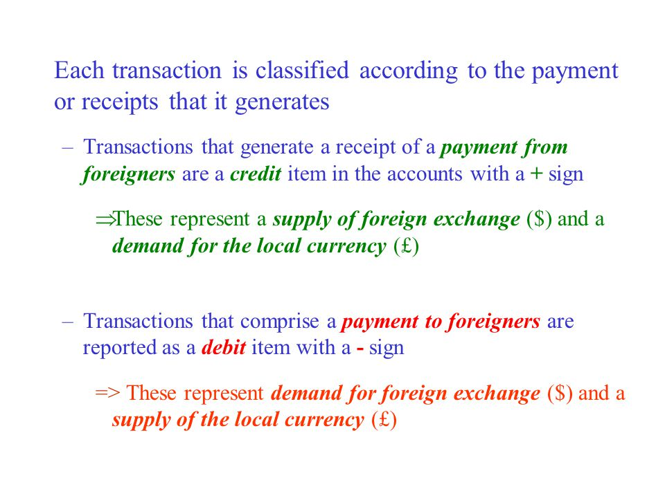 Each transaction is classified according to the payment or receipts that it generates