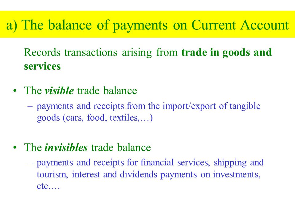 a) The balance of payments on Current Account
