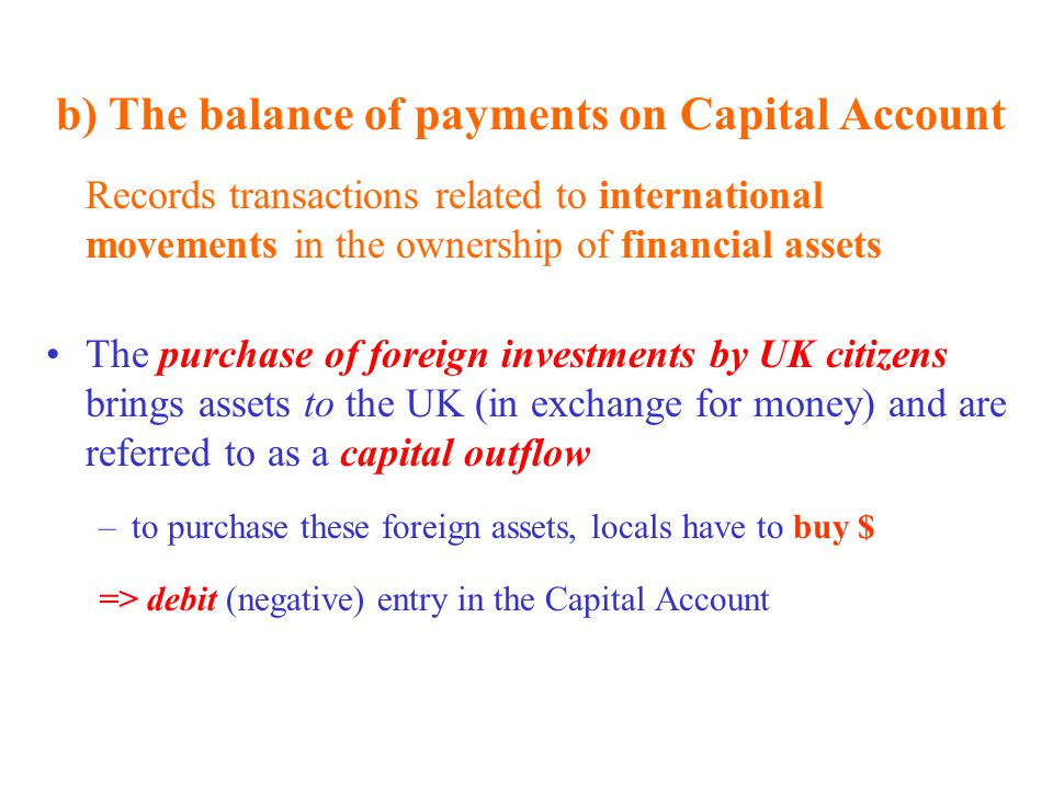 b) The balance of payments on Capital Account