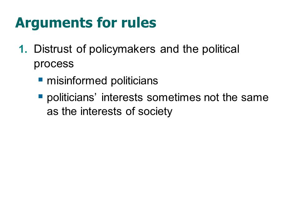 Arguments for rules 2. The time inconsistency of discretionary policy.