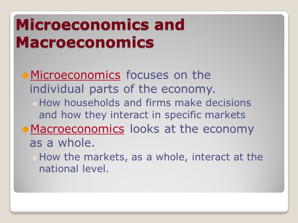 macroeconomics looks at the whole economy