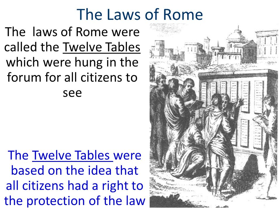 The Laws of Rome The laws of Rome were called the Twelve Tables which were hung in the forum for all citizens to see.