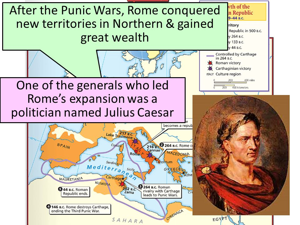 After the Punic Wars, Rome conquered new territories in Northern & gained great wealth