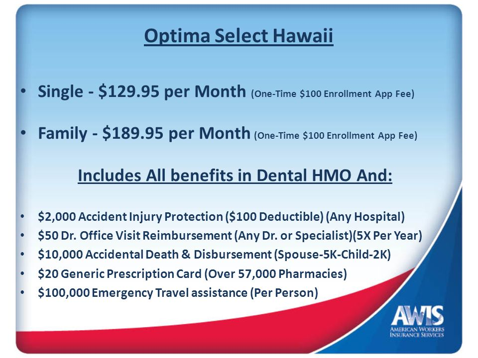 Includes All benefits in Dental HMO And: