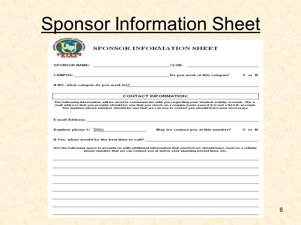 6 Sponsor Information Sheet: Cheer Contact Information Sheet At Alzheimers-prions.com