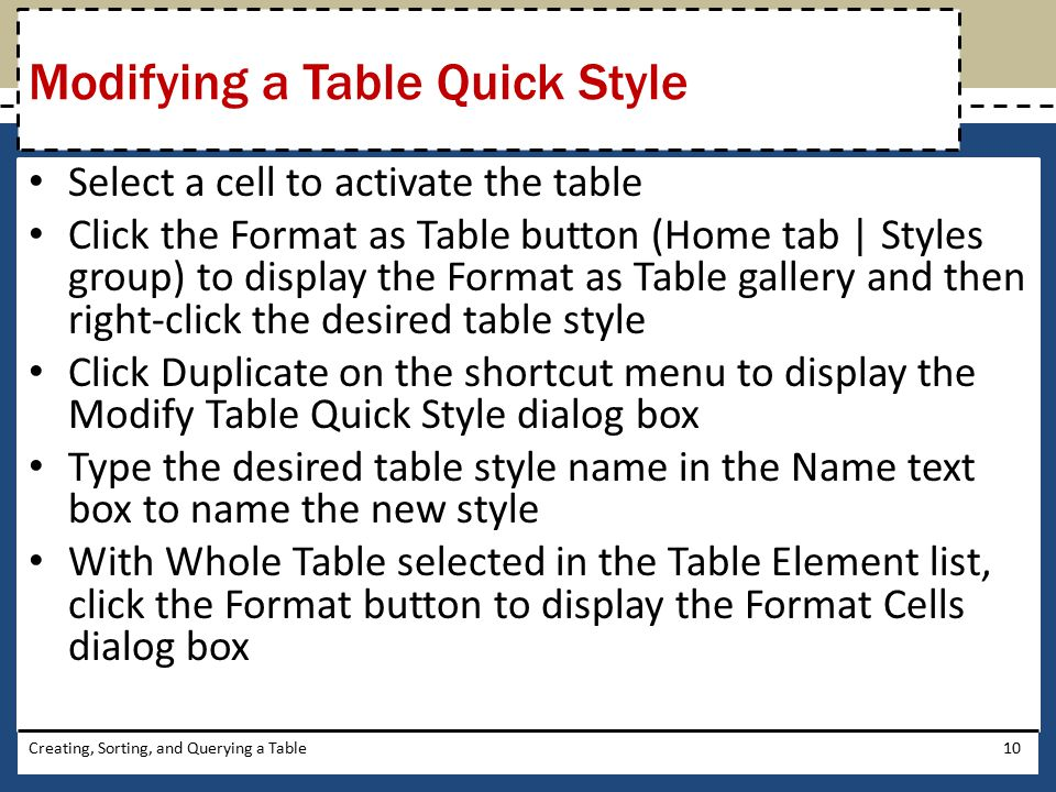 Modifying a Table Quick Style