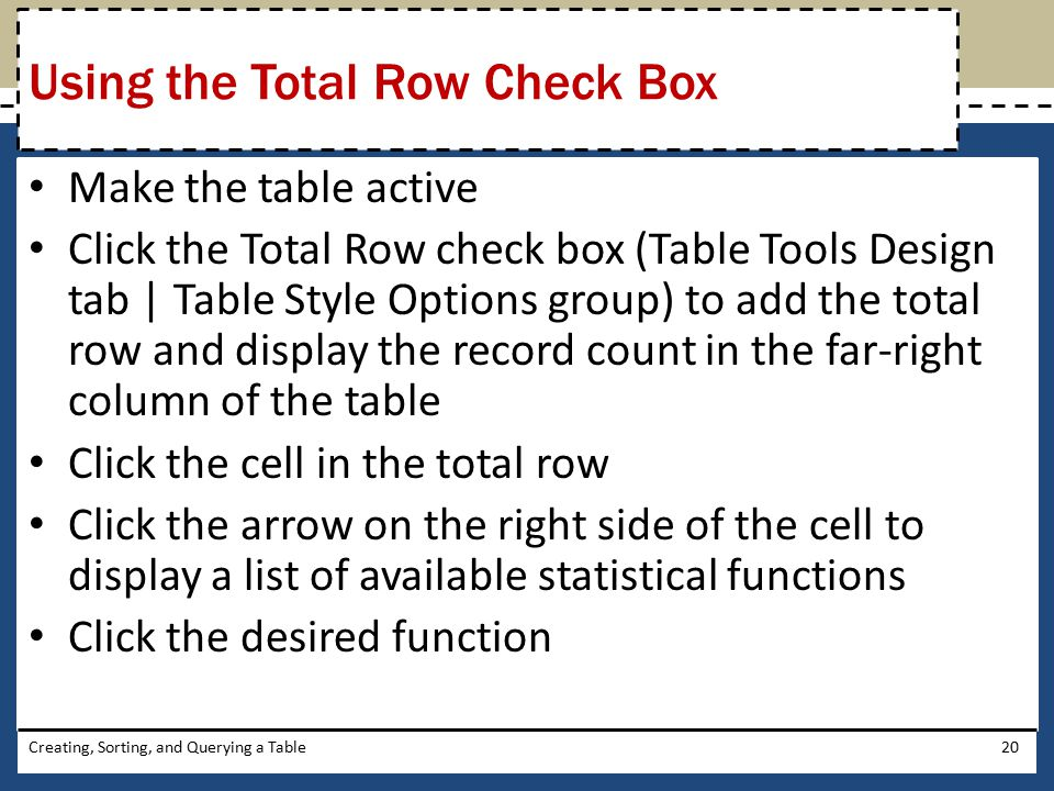 Using the Total Row Check Box