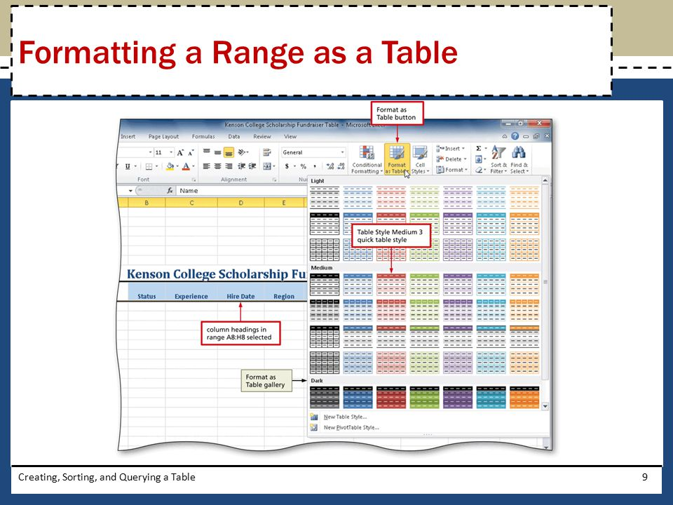 Formatting a Range as a Table