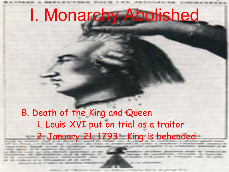 I. Monarchy Abolished B. Death of the King and Queen
