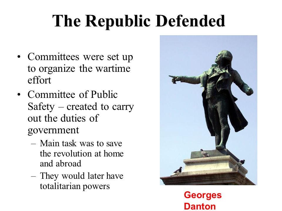 The Republic Defended Committees were set up to organize the wartime effort.