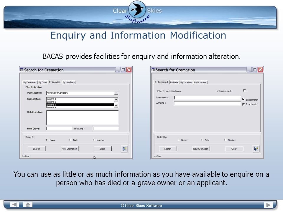 Enquiry and Information Modification