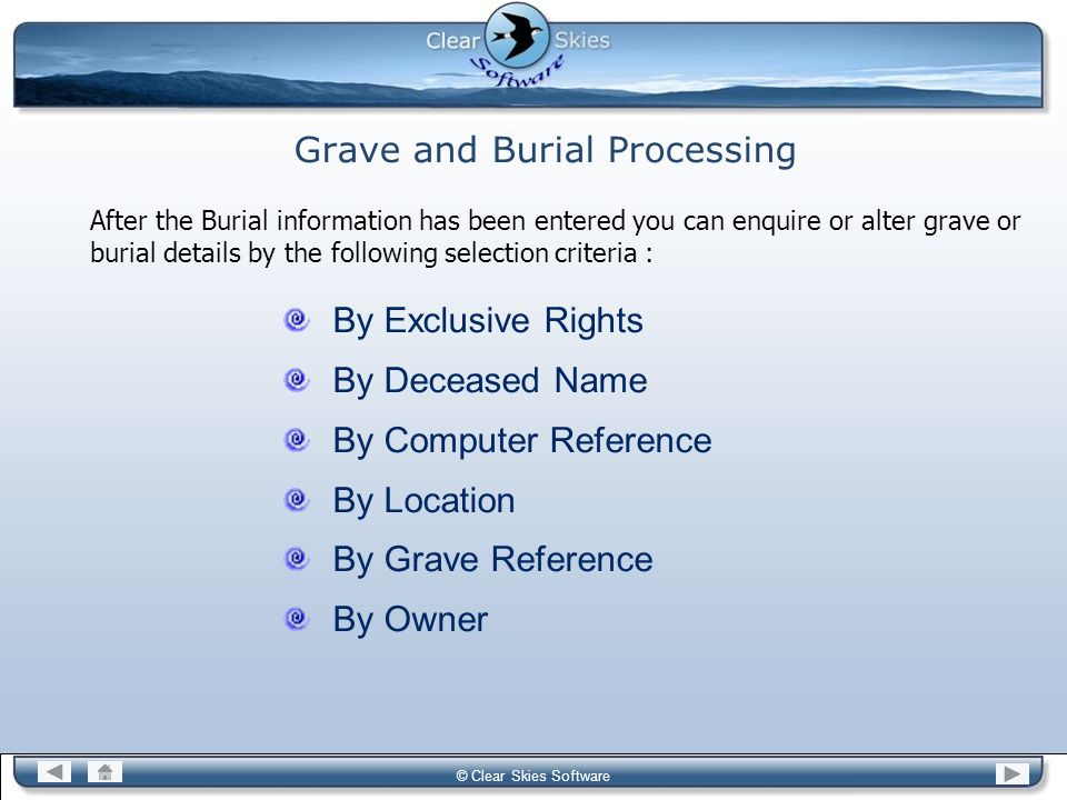 Grave and Burial Processing