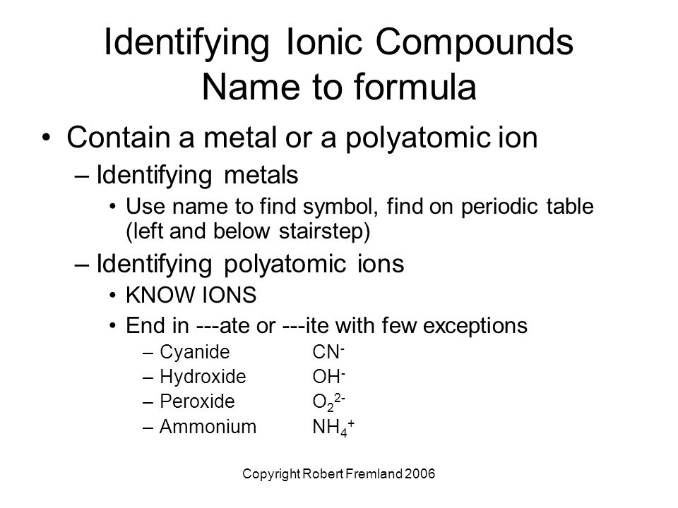 Chemical nomenclature ppt video online download identifying ionic compounds name to formula urtaz Image collections