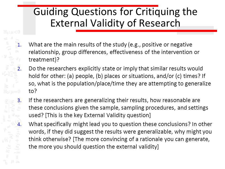 Guiding Questions for Critiquing the External Validity of Research