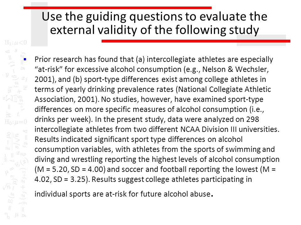 Use the guiding questions to evaluate the external validity of the following study