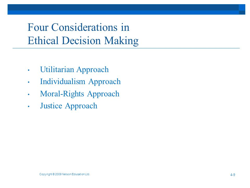 Four Considerations in Ethical Decision Making