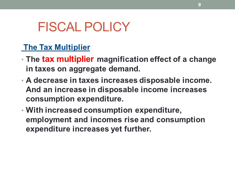 FISCAL POLICY The Tax Multiplier