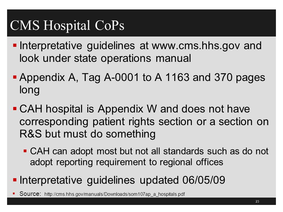 cms hospital r s conditions of participation cops ppt download rh slideplayer com state operations manual appendix w 2018 State Operations Manual Appendix J