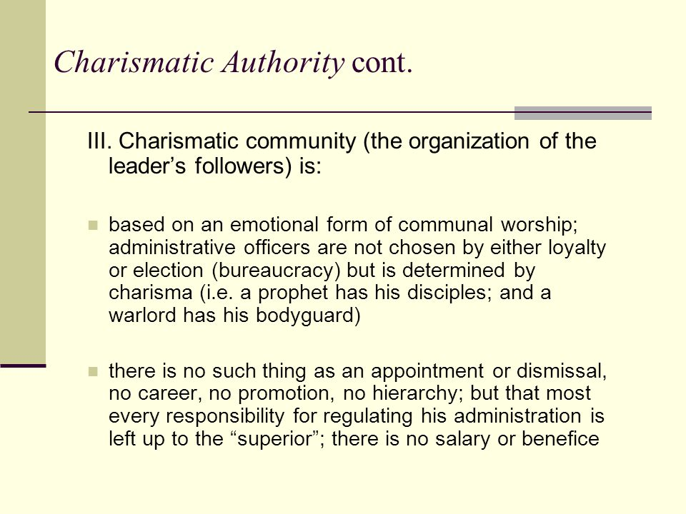 Charismatic domination nature