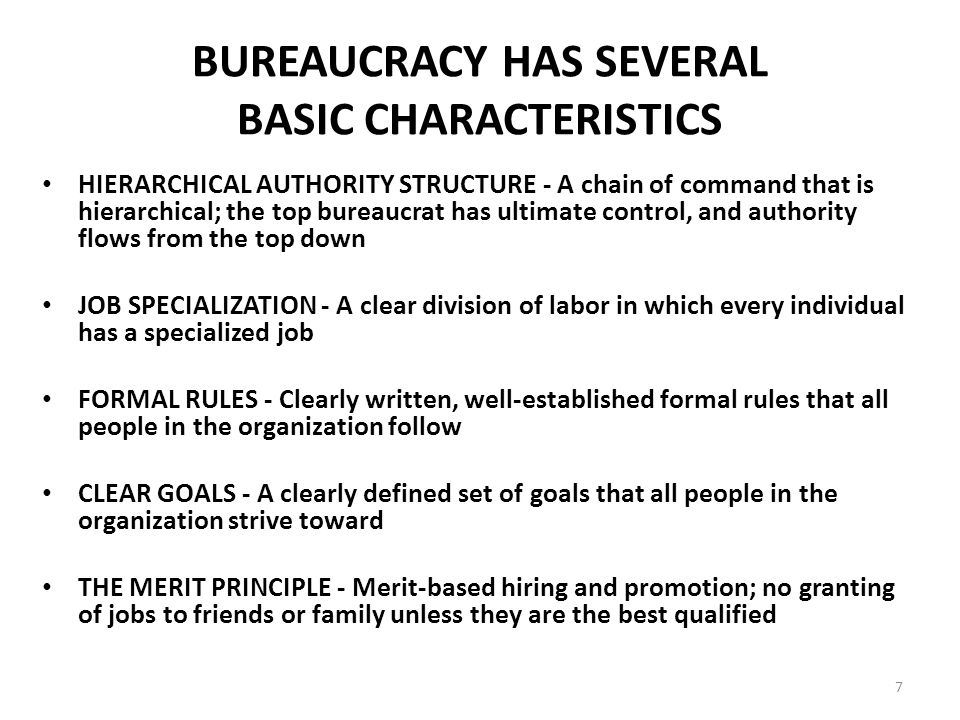 characteristics of bureaucracy