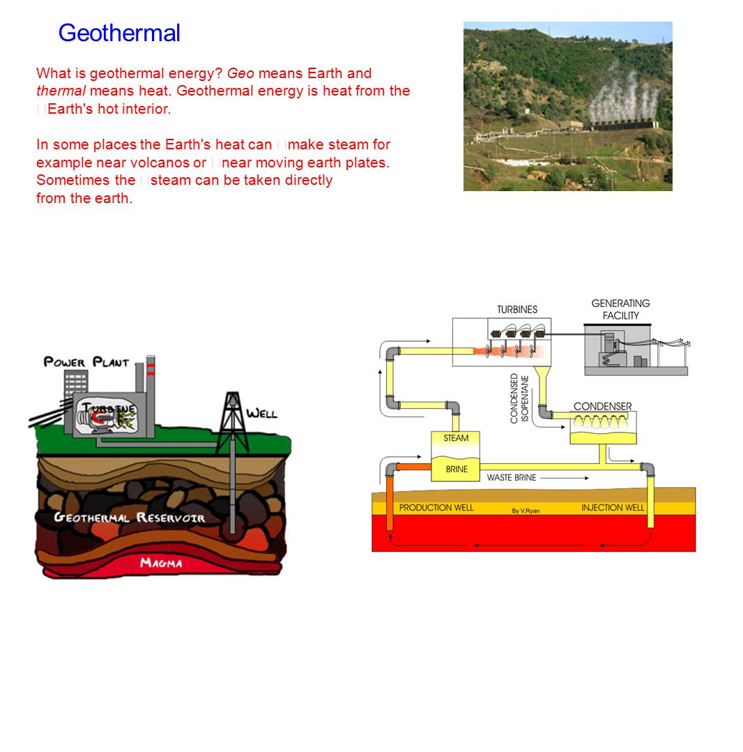 Geothermal What is geothermal energy Geo means Earth and thermal means heat. Geothermal energy is heat from the Earth s hot interior.