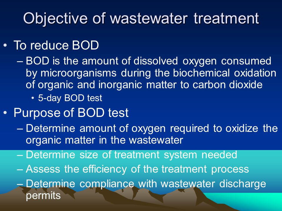 Objective of wastewater treatment