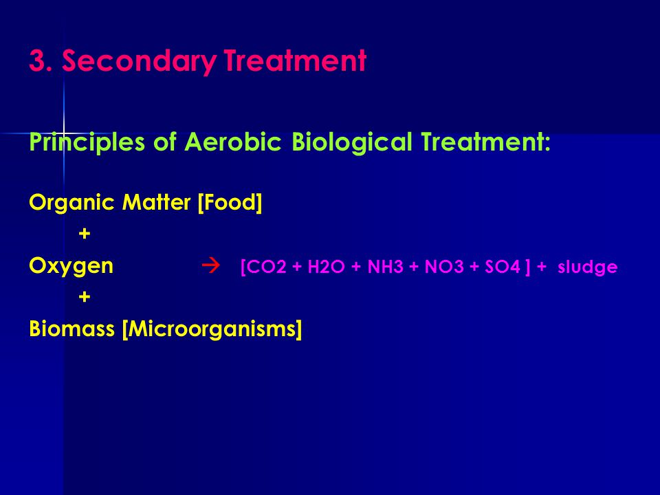 3. Secondary Treatment Principles of Aerobic Biological Treatment: