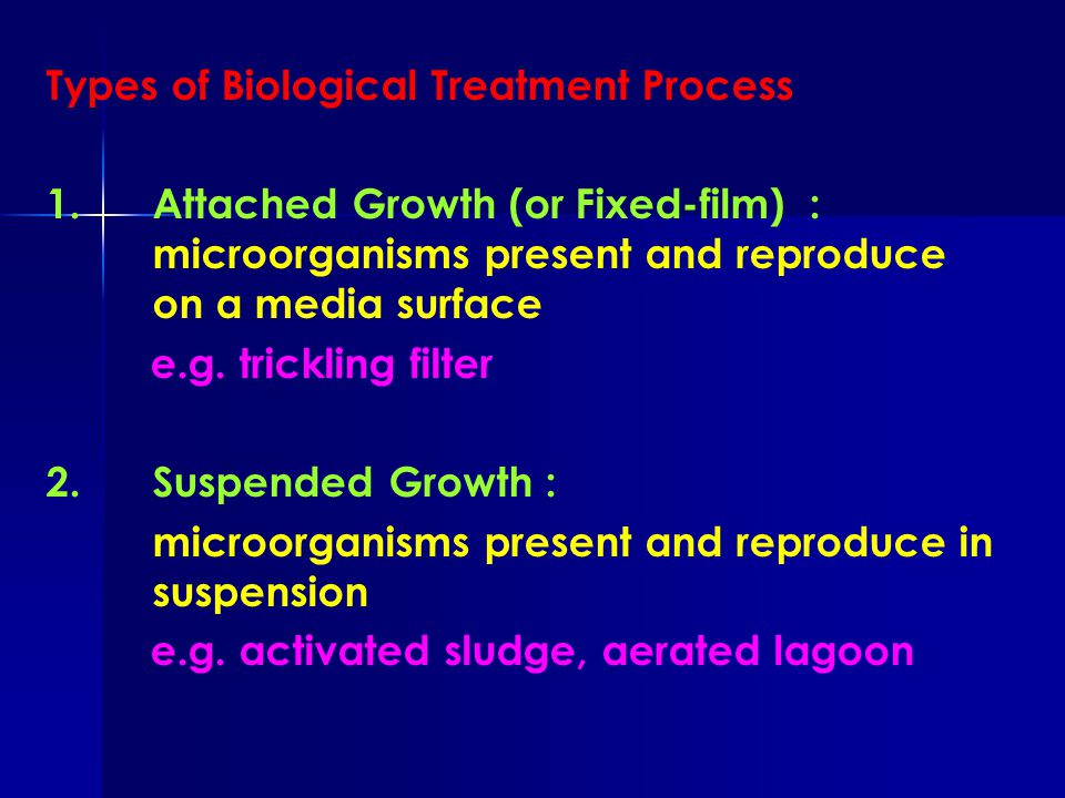 Types of Biological Treatment Process