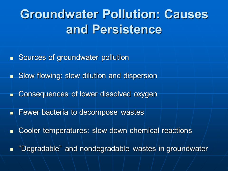 Groundwater Pollution: Causes and Persistence