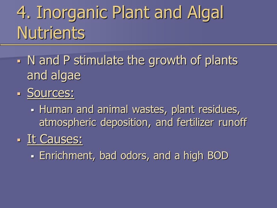 4. Inorganic Plant and Algal Nutrients