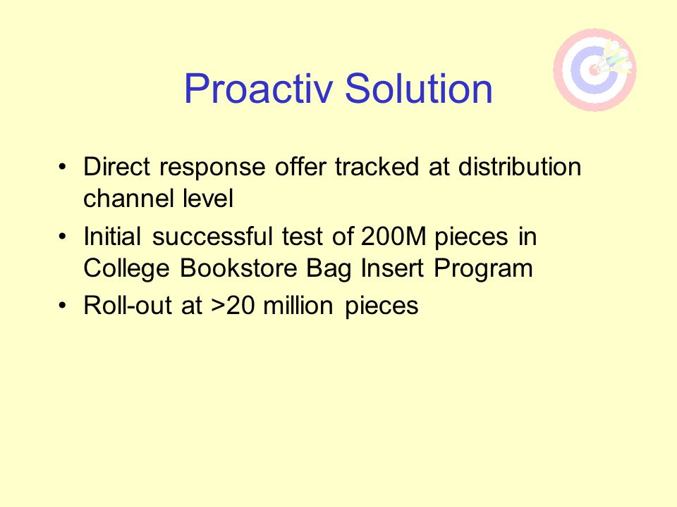 Proactiv Solution Direct response offer tracked at distribution channel level.