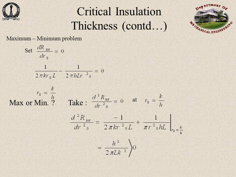 Critical Insulation Thickness (contd…)