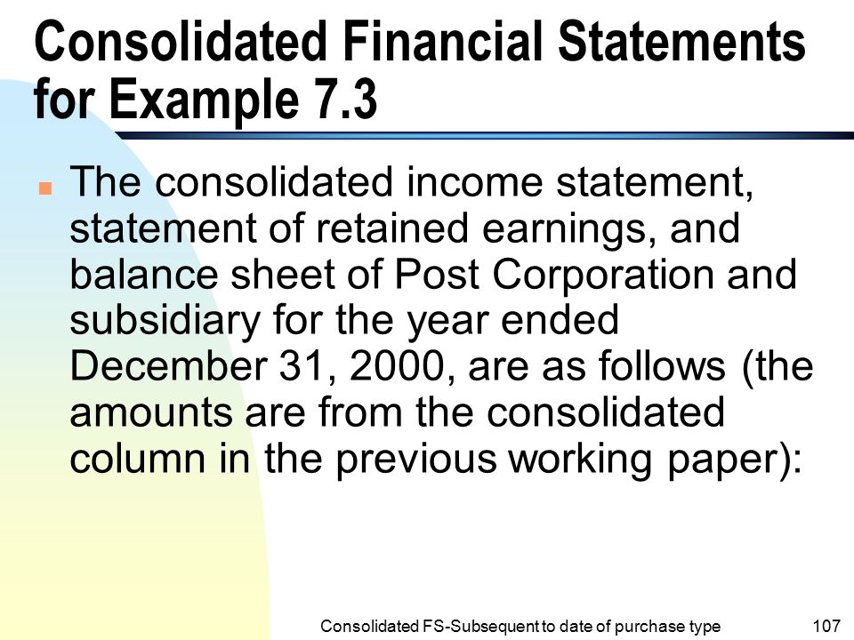 Consolidated Financial Statements for Example 7.3