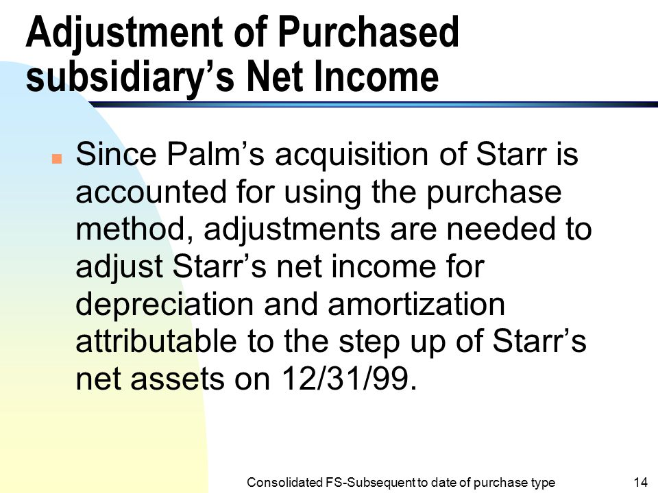 Adjustment of Purchased subsidiary's Net Income