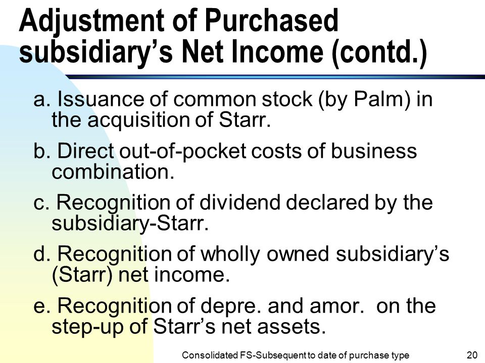 Adjustment of Purchased subsidiary's Net Income (contd.)