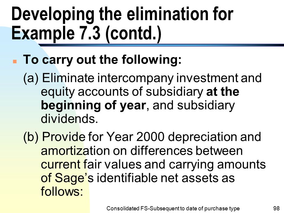Developing the elimination for Example 7.3 (contd.)