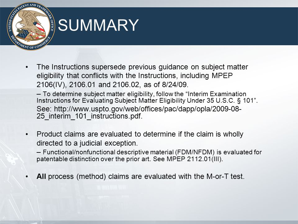 Evaluating Subject Matter Eligibility Under 35 U S C Ppt Download