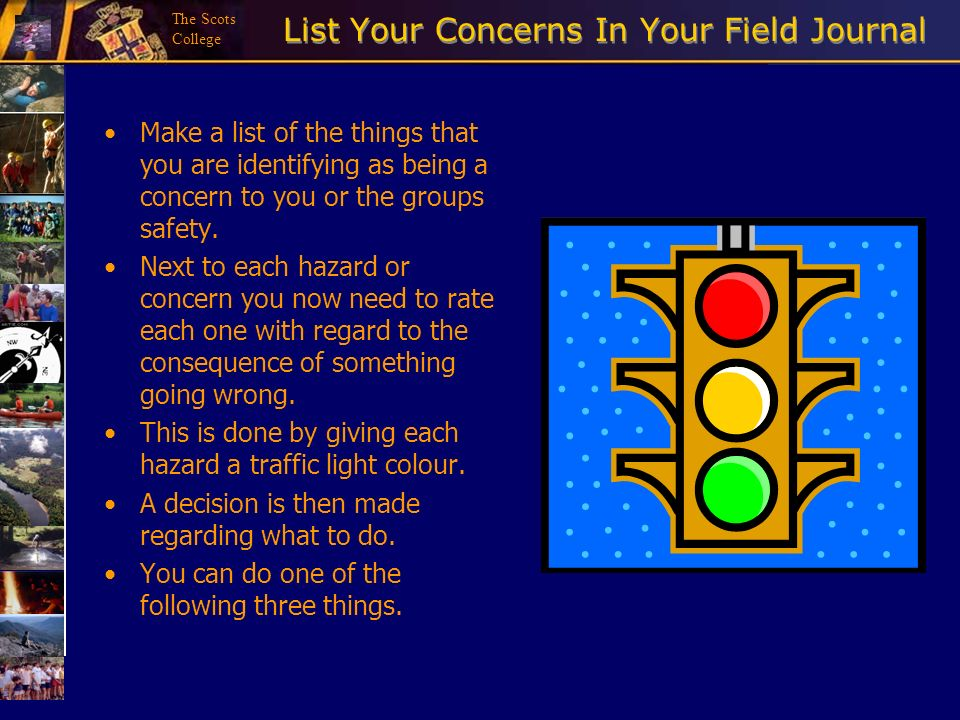 List Your Concerns In Your Field Journal
