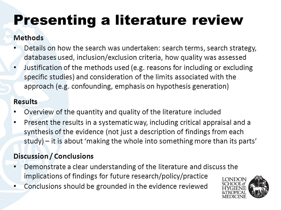 inclusion and exclusion criteria in literature review