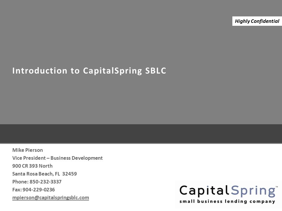Introduction to CapitalSpring SBLC