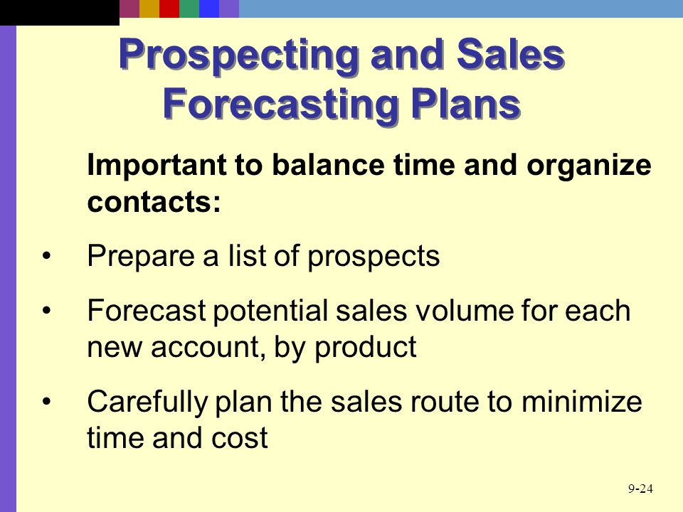 Prospecting and Sales Forecasting Plans