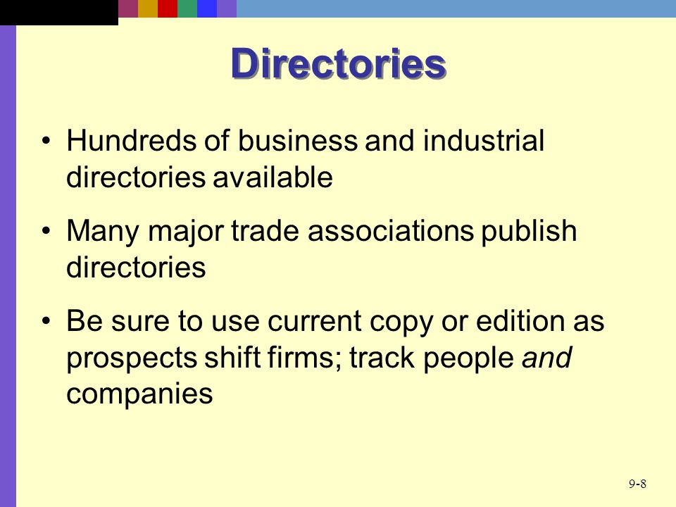 Directories Hundreds of business and industrial directories available