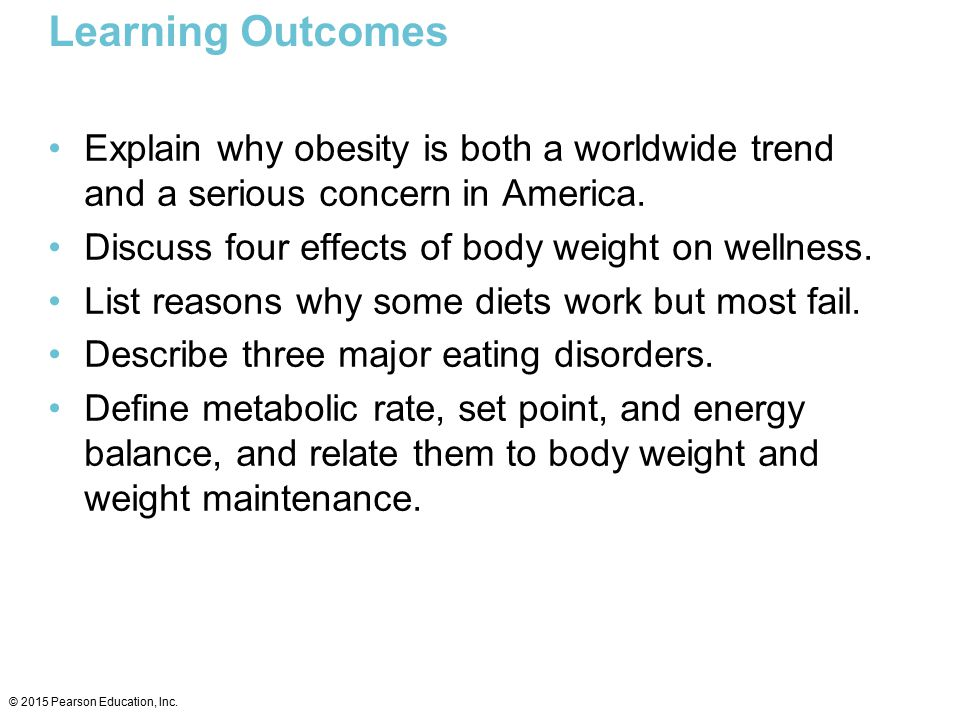 Learning Outcomes Explain why obesity is both a worldwide trend and a serious concern in America. Discuss four effects of body weight on wellness.