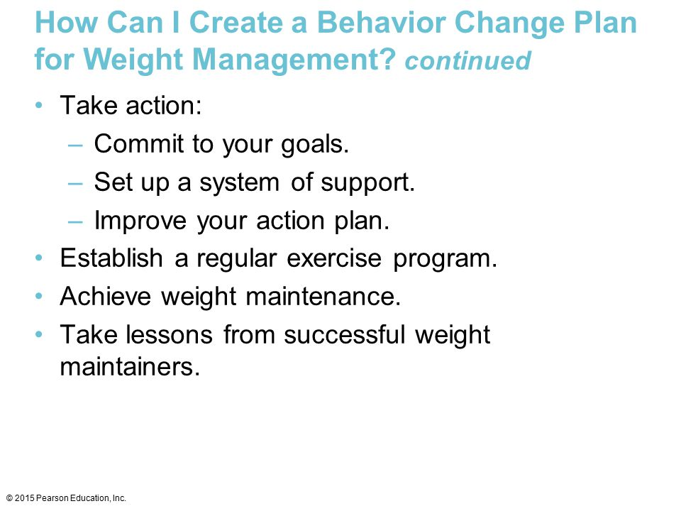How Can I Create a Behavior Change Plan for Weight Management