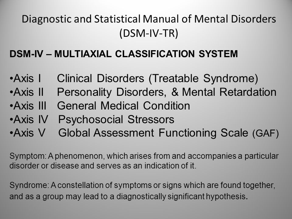 psychiatric nursing a guide to dsm iv tr multiaxial system essay The diagnostic and statistical manual of mental disorders,  criteria found in dsm-iv-tr,  •the multiaxial system –dsm-5 has moved to a nonaxial documentation.