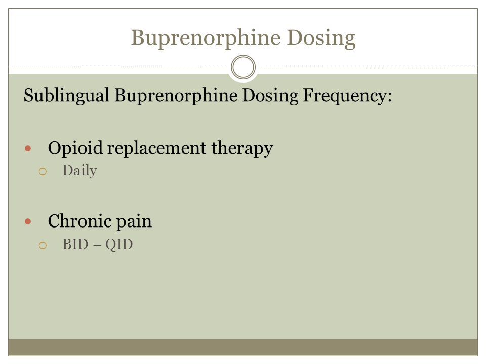 Sublingual Buprenorphine and Pain