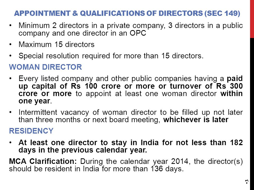 Appointment Qualifications Of Directors Sec 149