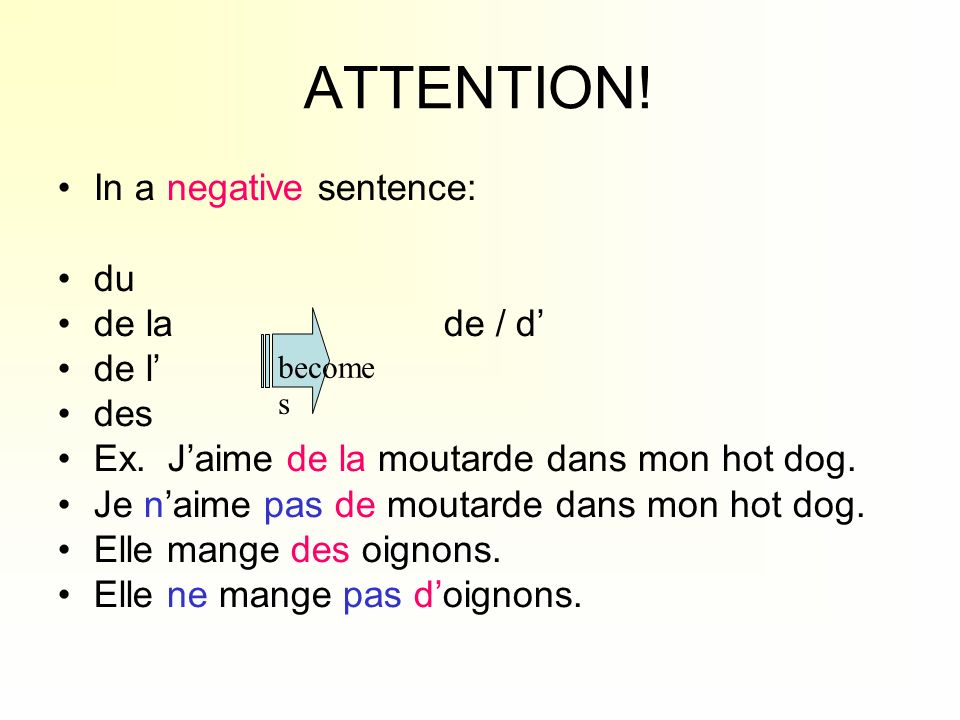 ATTENTION! In a negative sentence: du de la de / d' de l' des